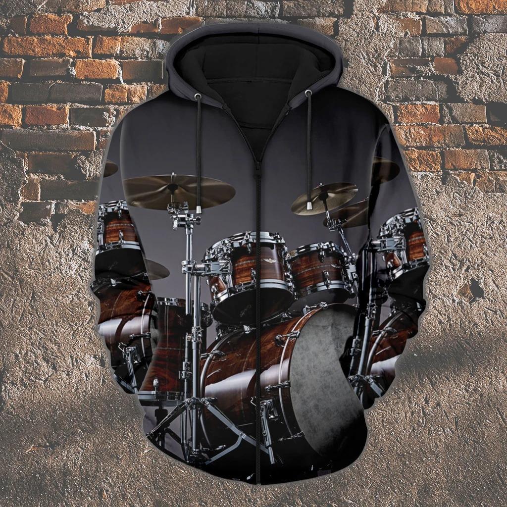 Drummer 3D zip hoodie