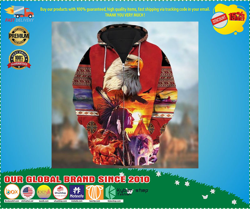 [LIMITED EDITION] Eagle native american zip hoodie
