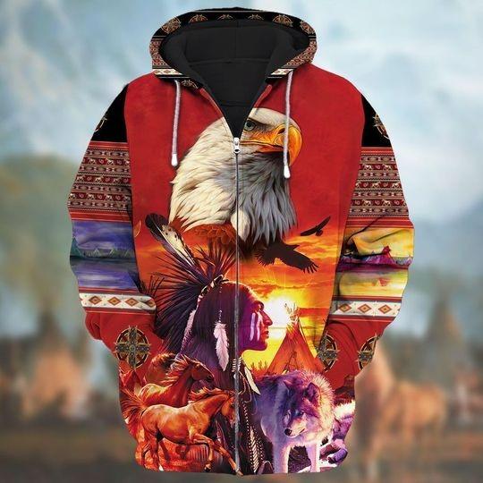 Eagle native american zip hoodie