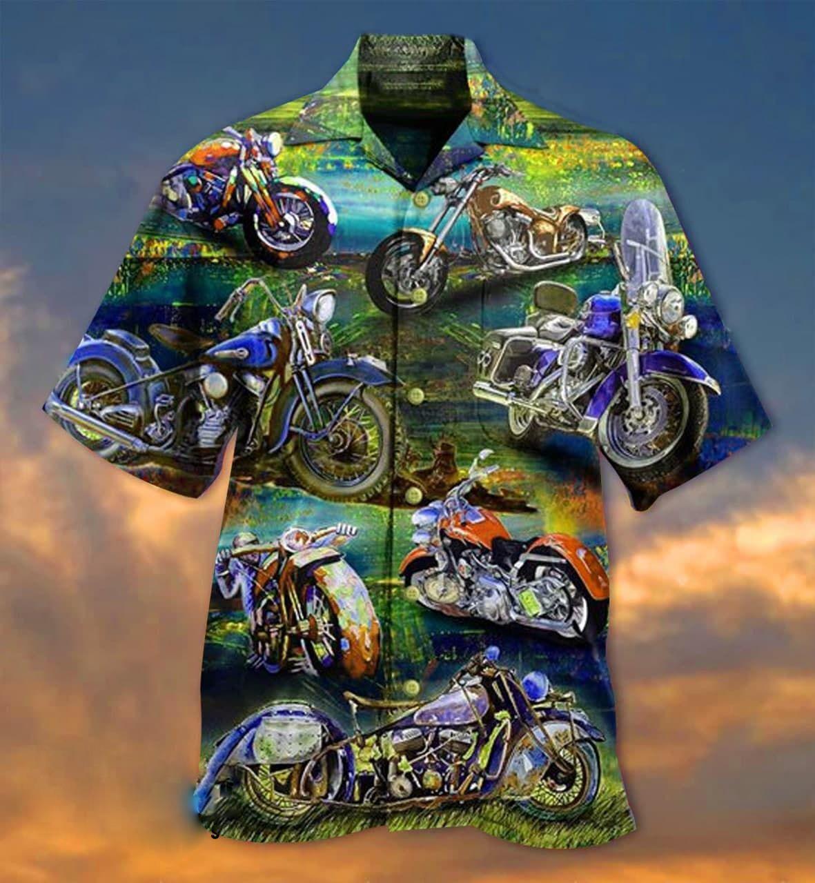 Freedom is a full tank motorcycle short sleeve hawaiian shirt