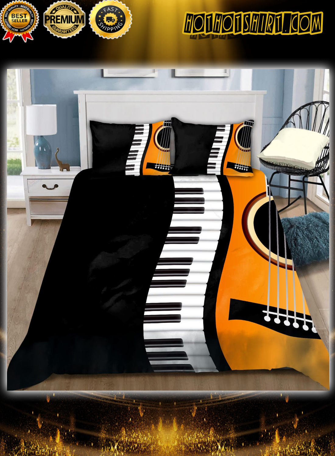 Guitar and piano bedding set