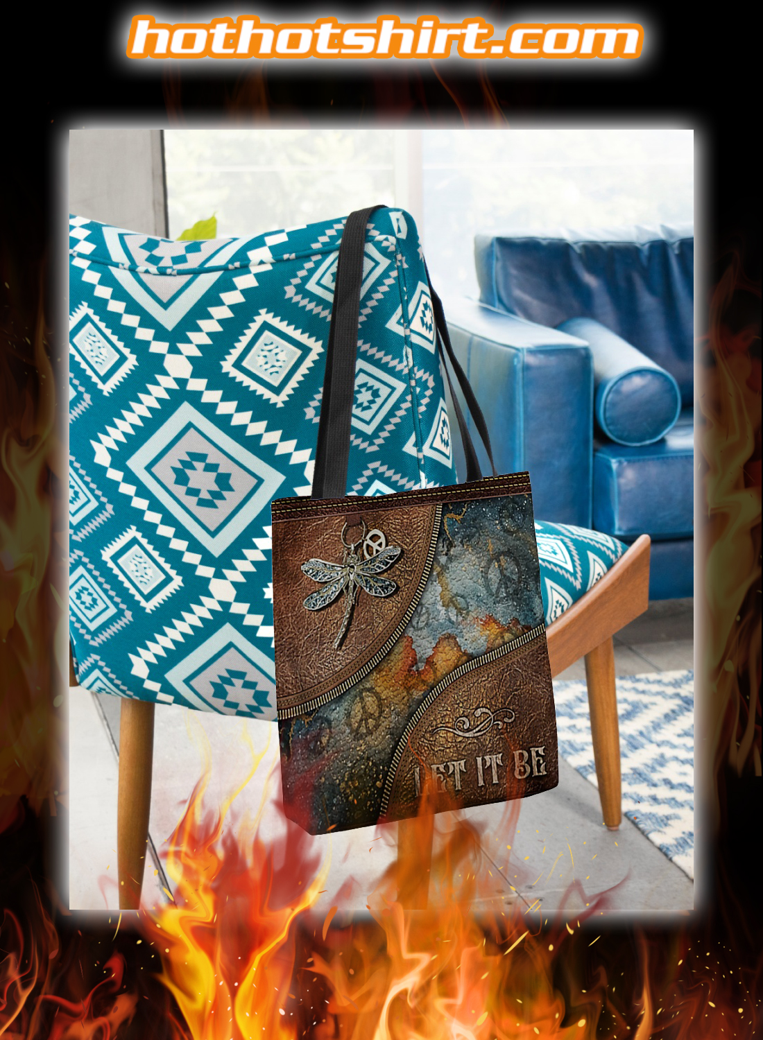 Hippie Dragonfly Let it Be Tote Bag 1
