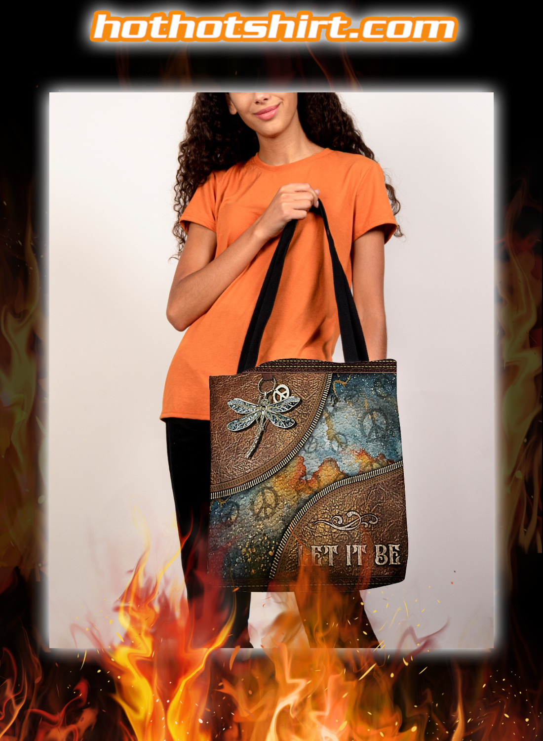 Hippie Dragonfly Let it Be Tote Bag