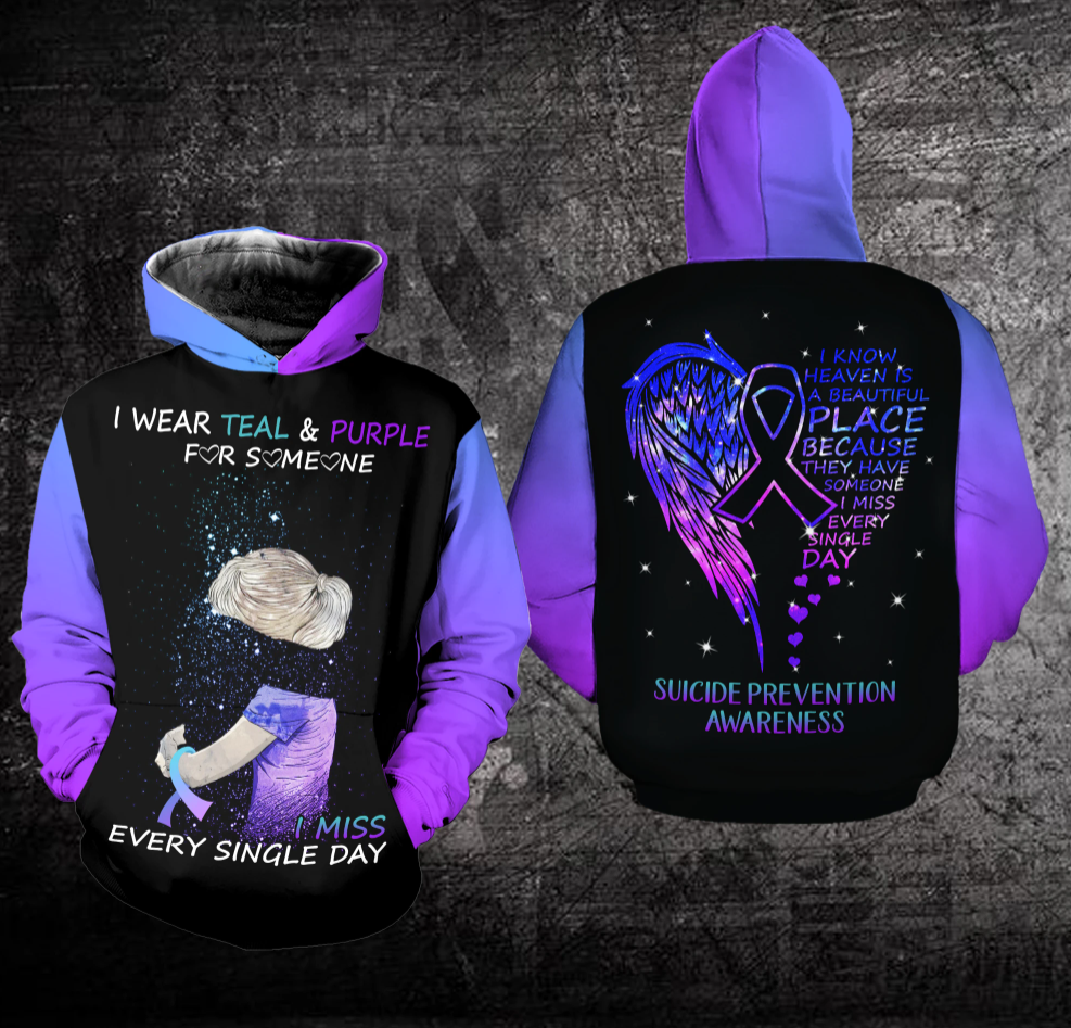 [LIMITED] I WEAR TEAL AND PURPLE FOR SOMEONE I MISS EVERY SINGLE DAY ALL OVER PRINTED 3D HOODIE