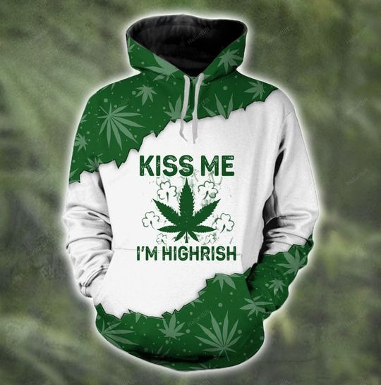 [LIMITED EDITION] Kiss me I'm highrish couple 3d hoodie