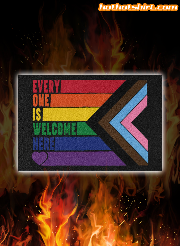 LGBT rainbow feminist everyone is welcome here doormat
