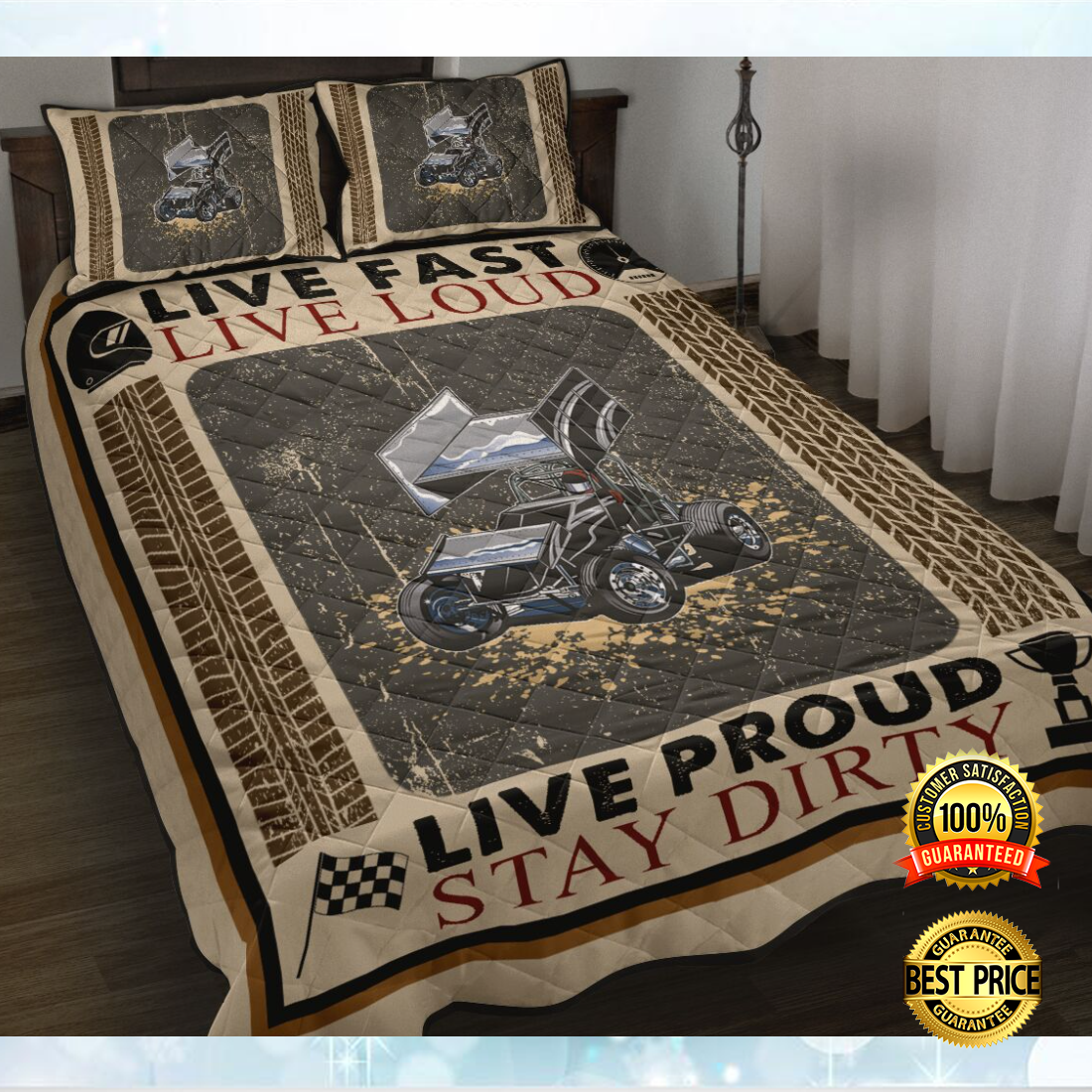 Live fast live loud live proud stay dirty bedding set 4