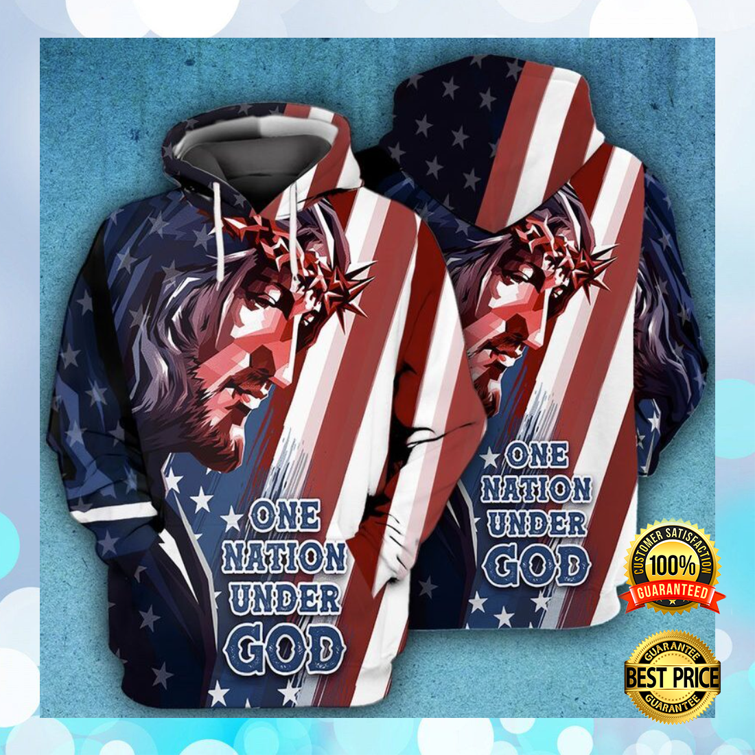 One nation under God American flag all over printed 3D hoodie 5