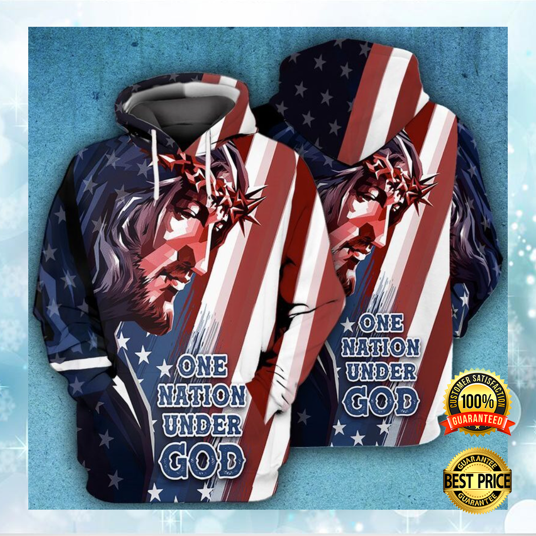 One nation under God American flag all over printed 3D hoodie 6