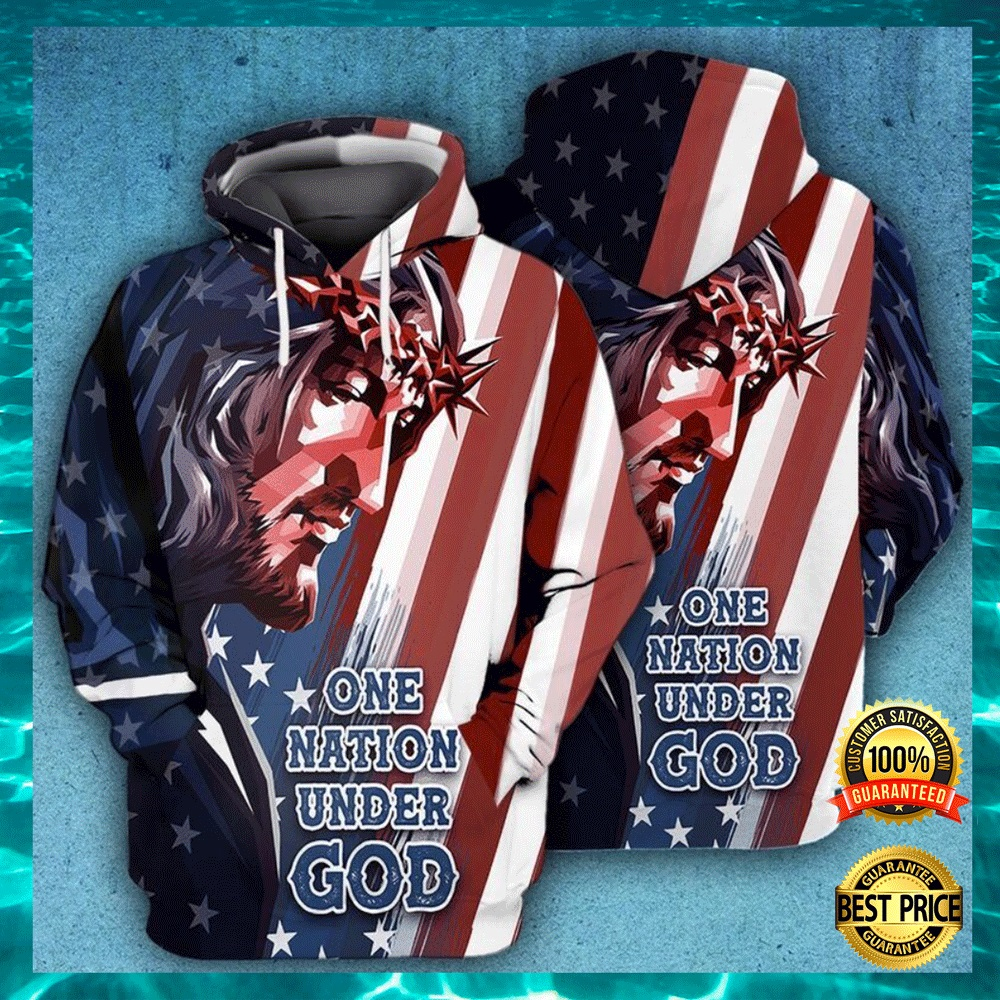 One nation under God American flag all over printed 3D hoodie1