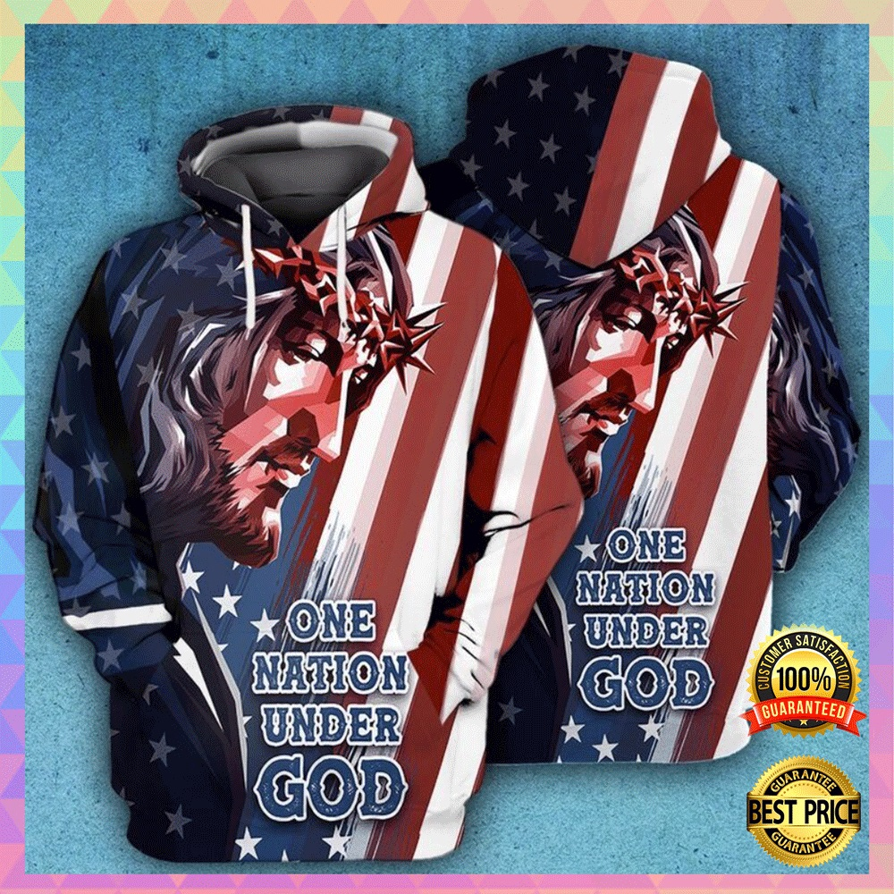 One nation under God American flag all over printed 3D hoodie2