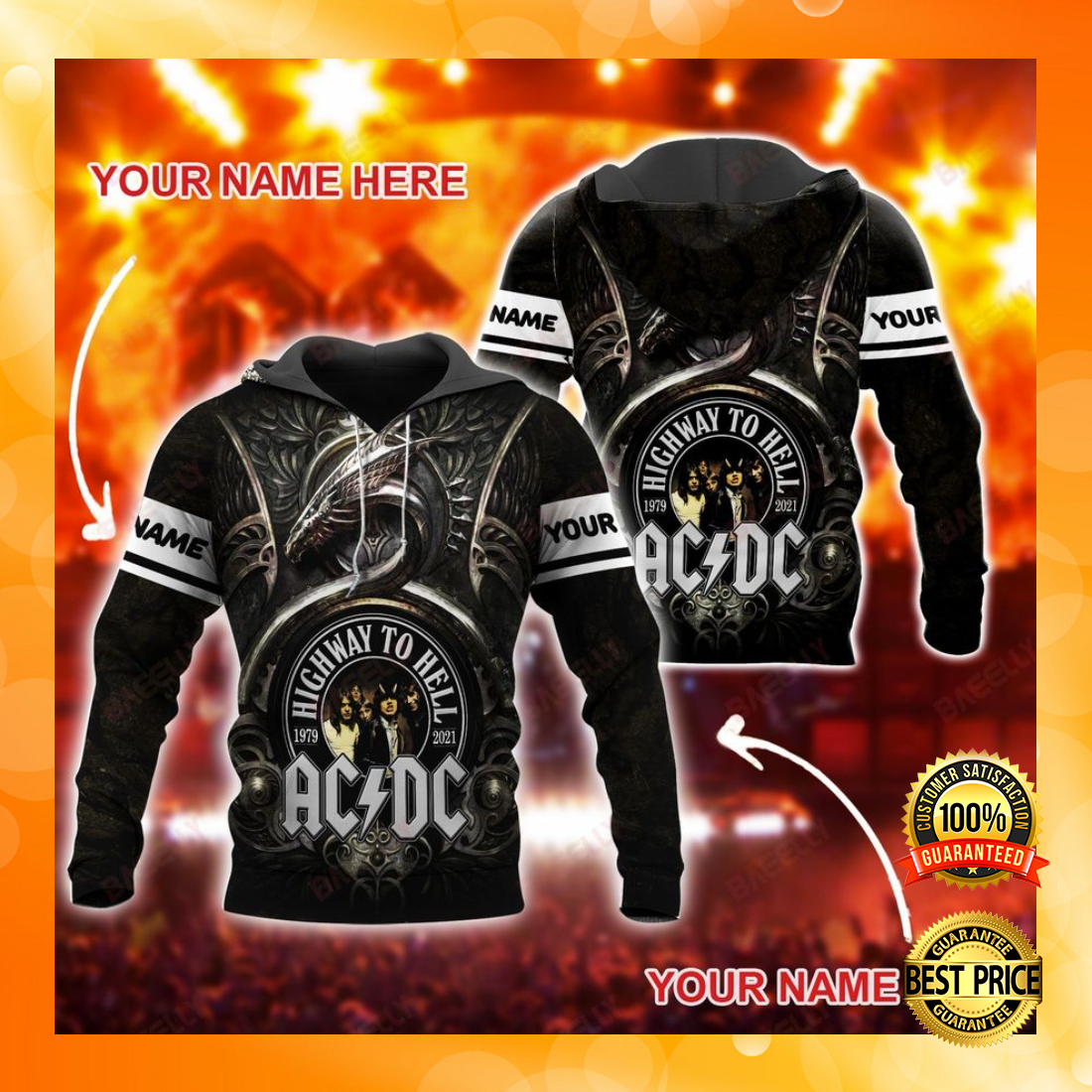Personalized AC DC highway to hell all over printed 3D hoodie 4