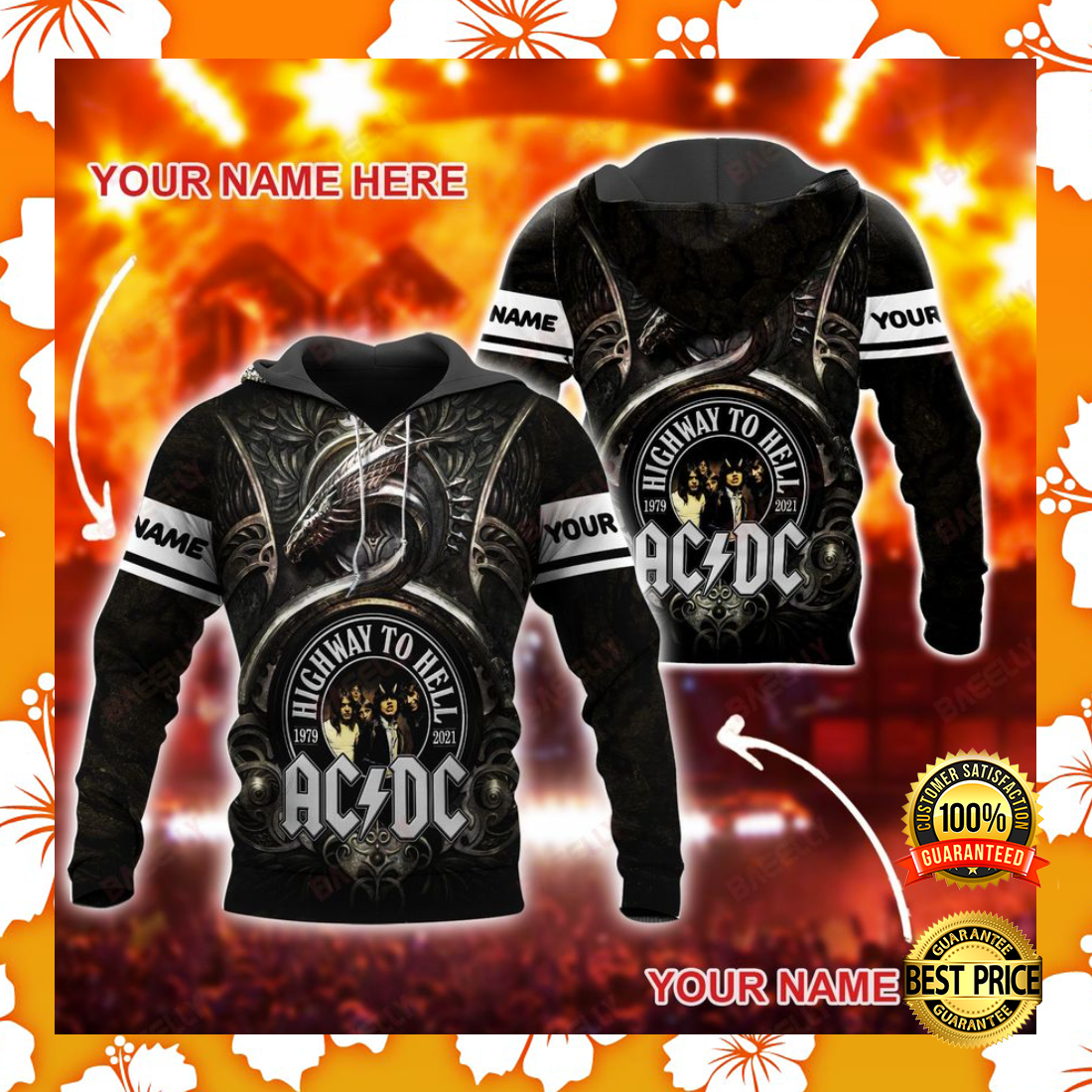 Personalized AC DC highway to hell all over printed 3D hoodie 5