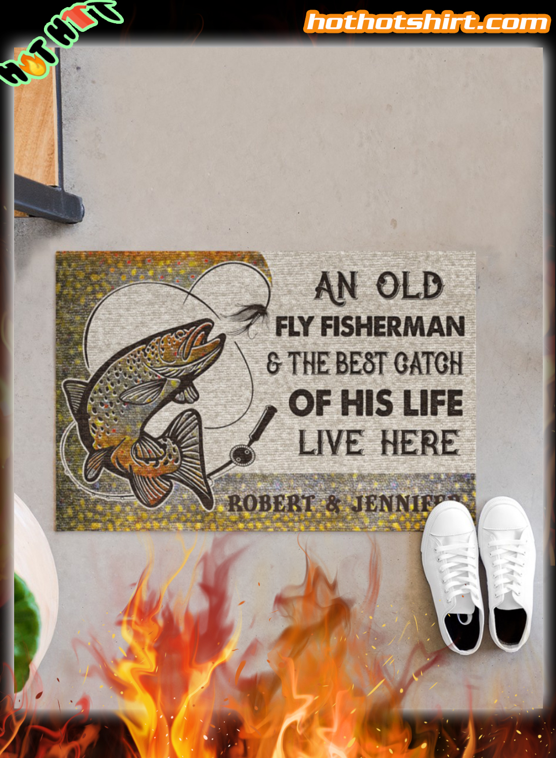 Personalized An old fly fisherman and the best catch of his live live here doormat 1