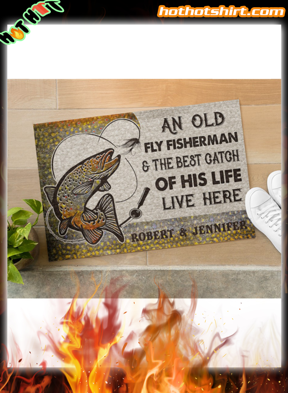 Personalized An old fly fisherman and the best catch of his live live here doormat 3