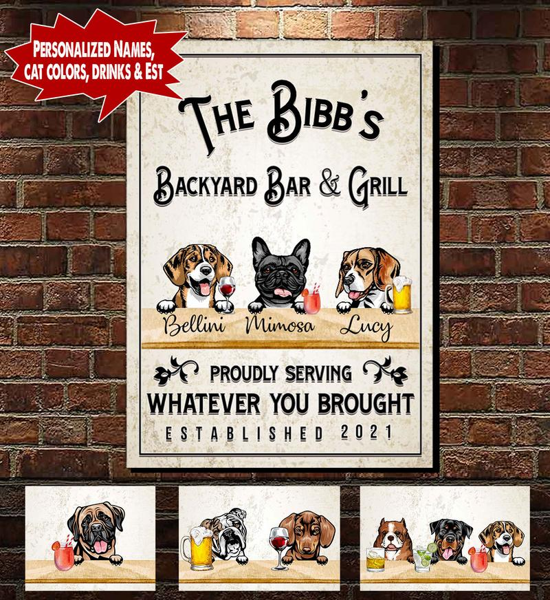 [LIMITED EDITION] Personalized Backyard Bar & Grill Dog and Cat Canvas