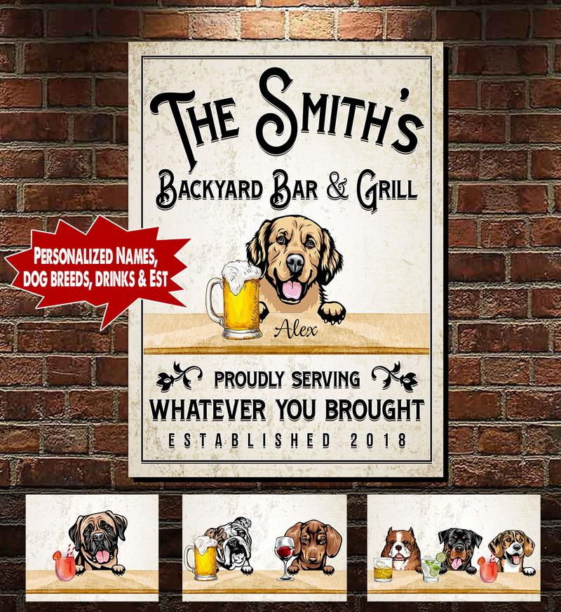 Personalized Backyard Bar & Grill Dog and Cat Canvas