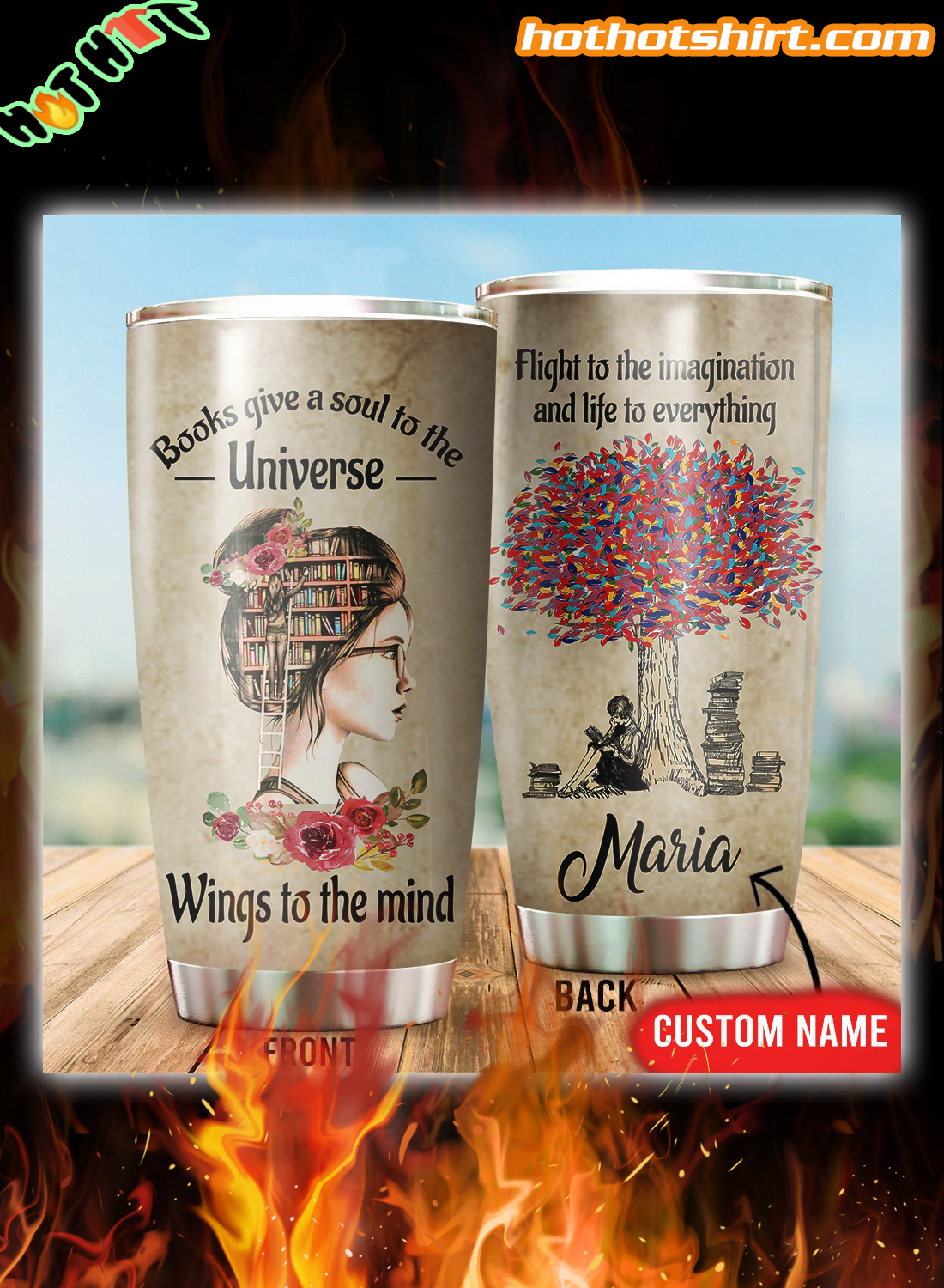 Personalized Books give a soul to the universe wings to the mind tumbler
