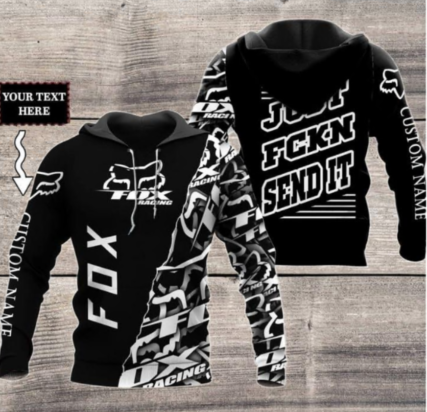 Personalized Fox racing just fucking send it black and white all over printed 3D hoodie