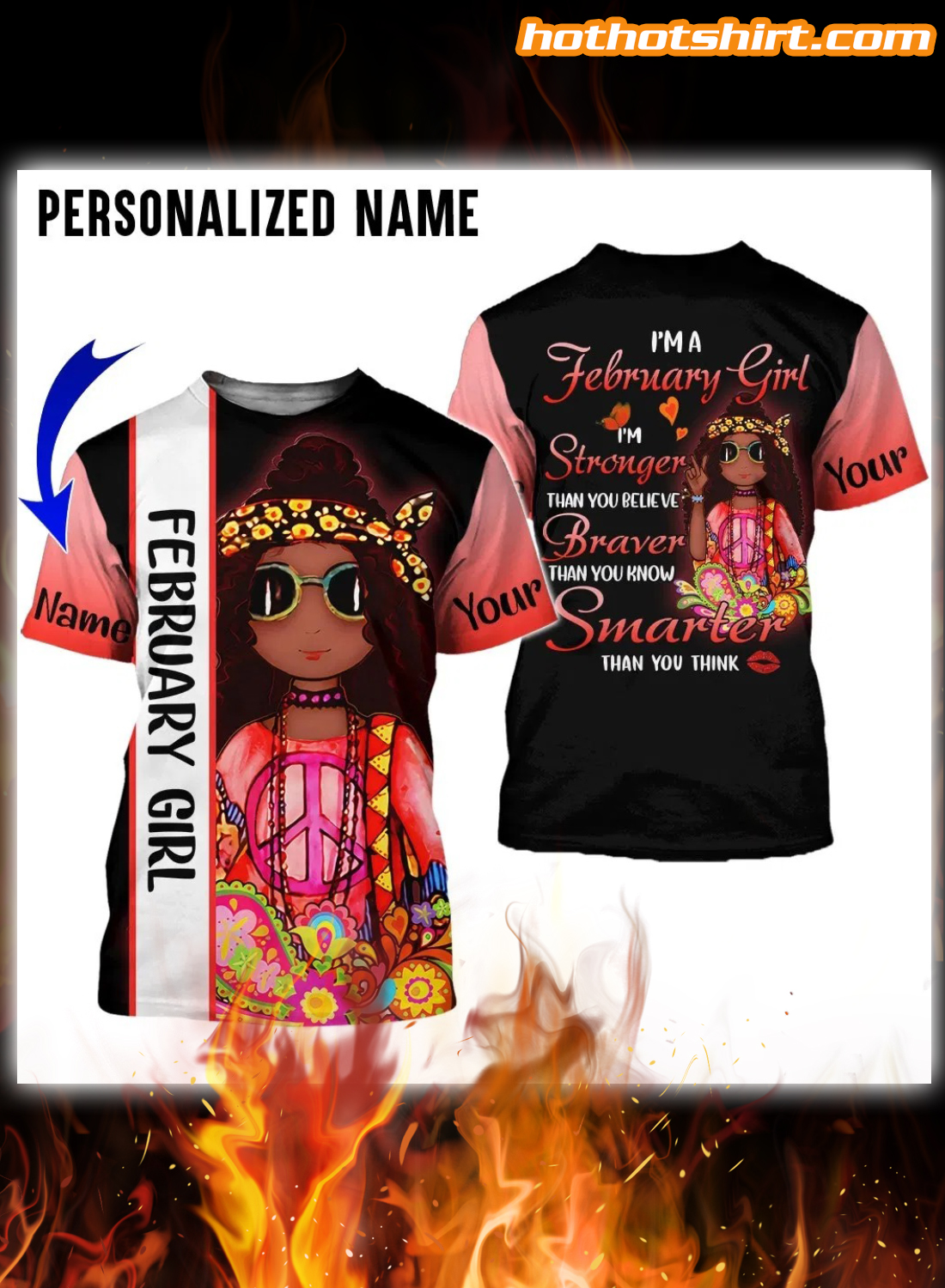 Personalized I'm a february girl i'm stronger than you believe 3D hoodie 3