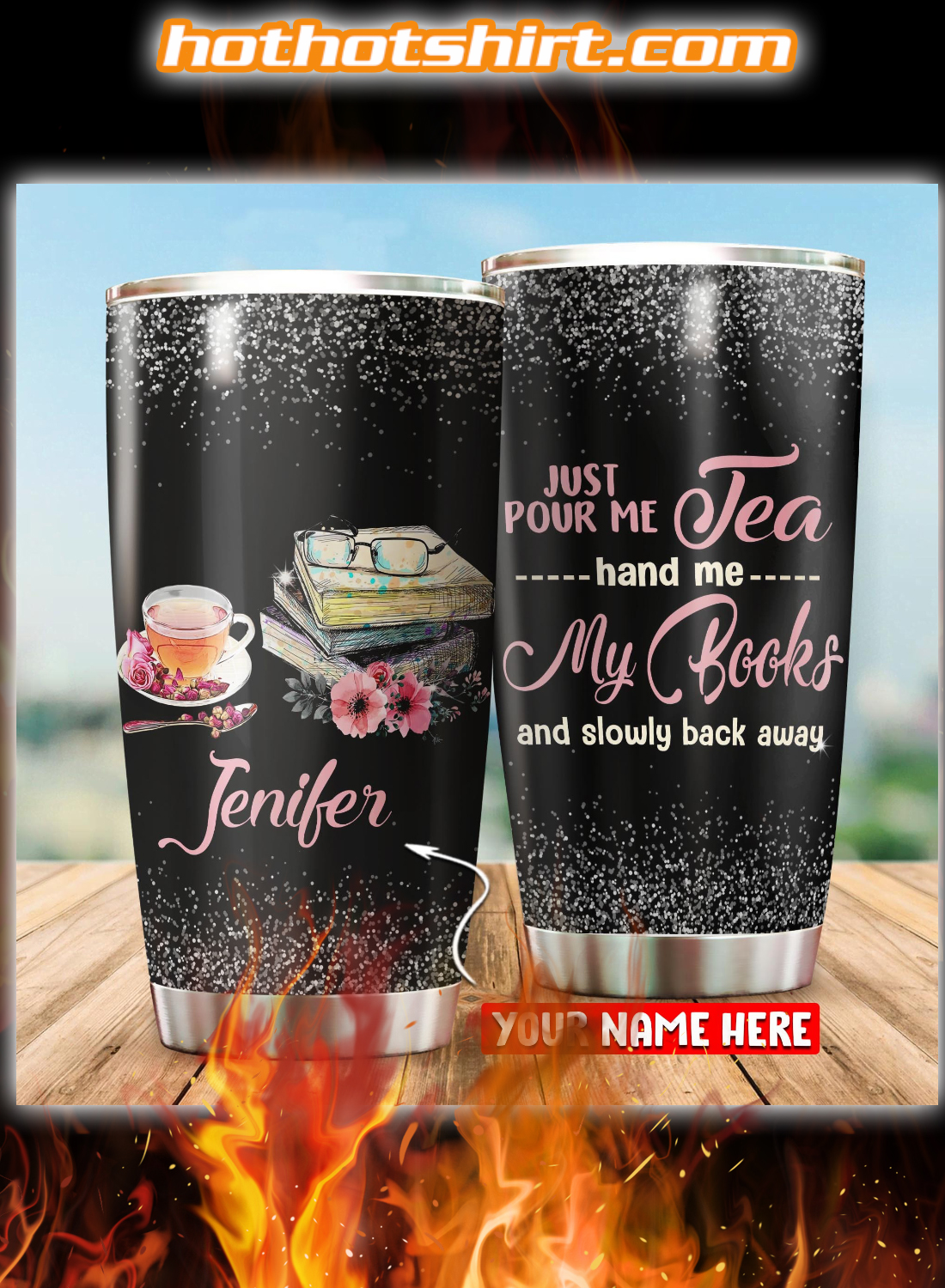Personalized Just pour me tea hand me my book tumbler