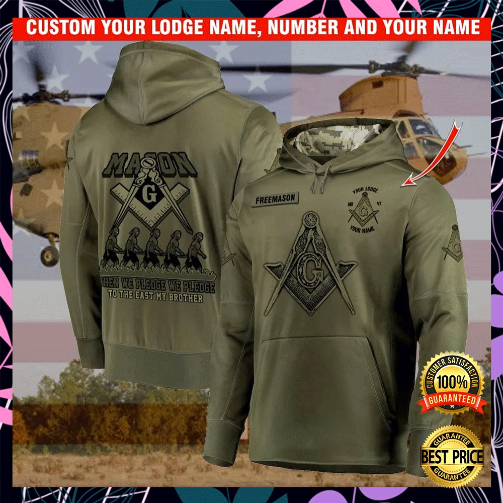 [NEW] PERSONALIZED MASON WHEN WE PLEDGE WE PLEDGE TO THE EAST MY BROTHER ALL OVER PRINTED 3D HOODIE
