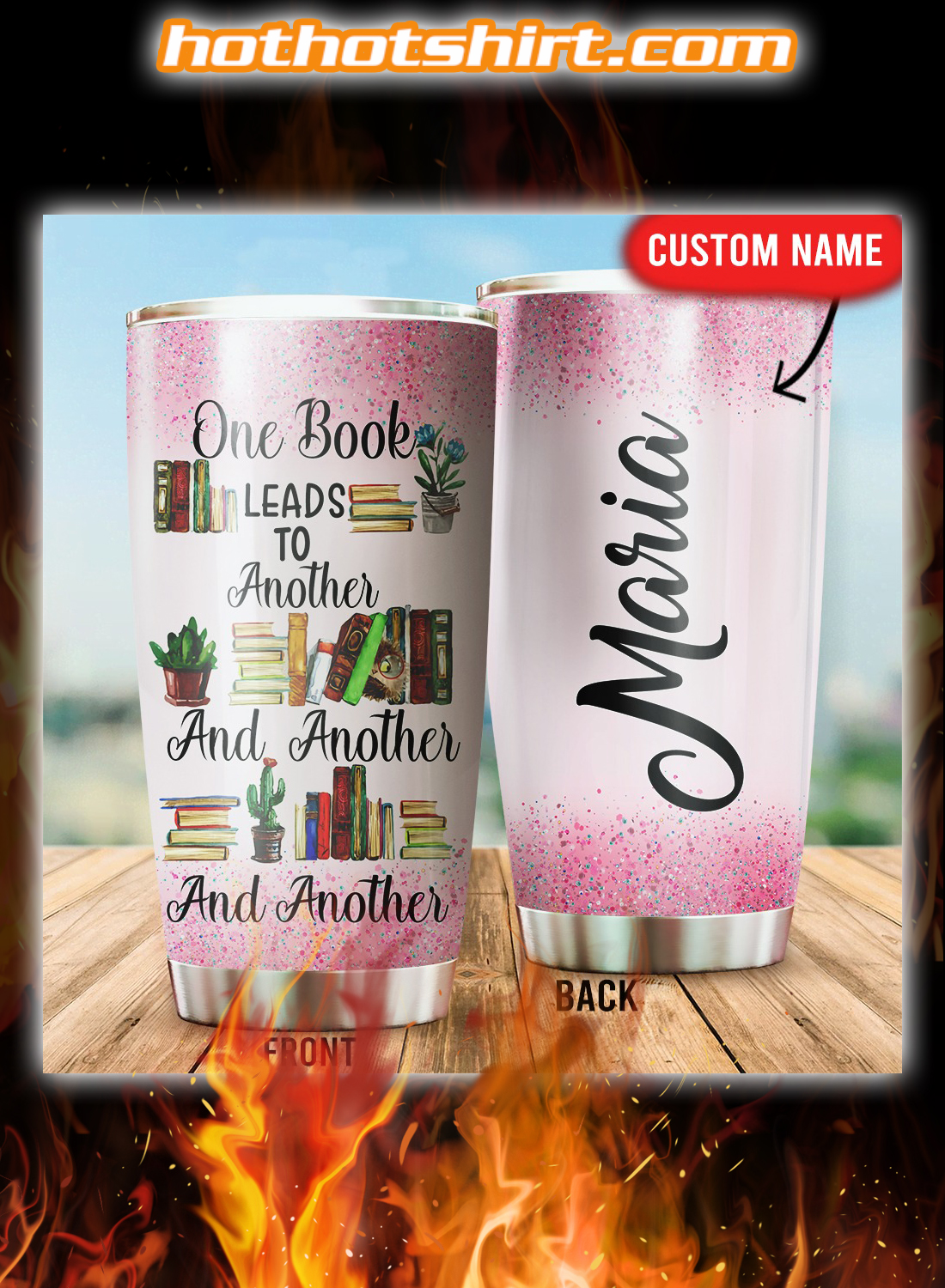 Personalized One book leads to another tumbler