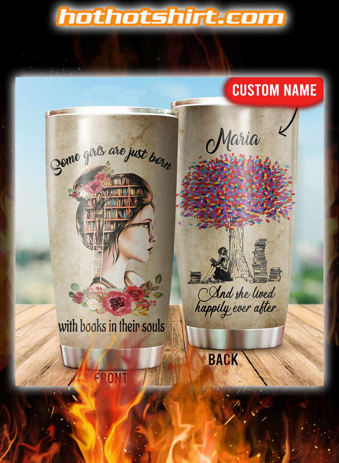 Personalized Some girls are just born with books in their souls tumbler