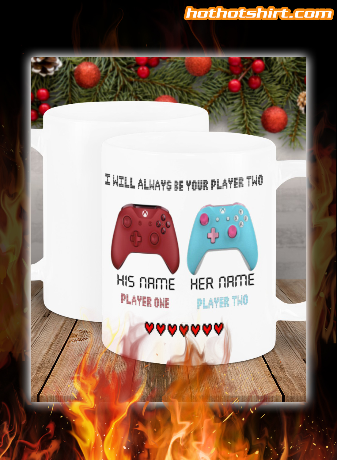 Personalized gamer i will always be your player two mug