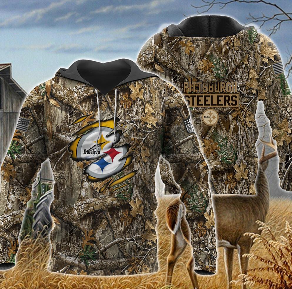 Pittsburgh Steelers deer hunting camo all over printed 3D hoodie