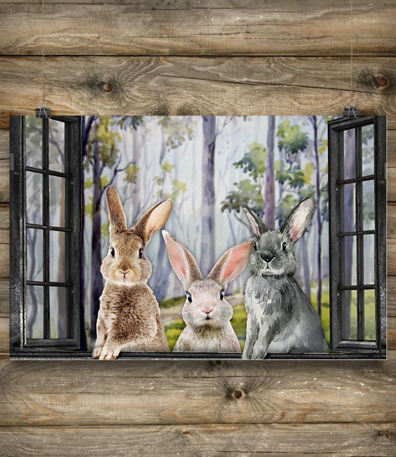 Rabbits by the window poster 1