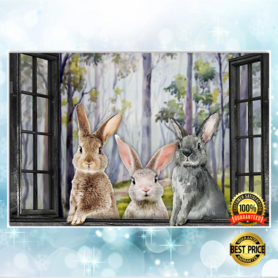 Rabbits by the window poster 5