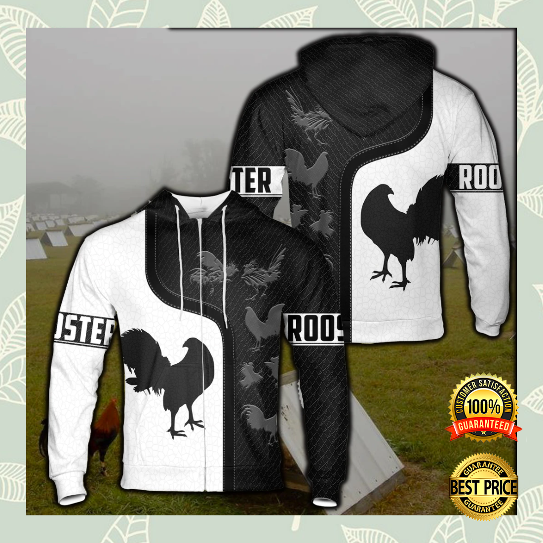 [LIMITED] ROOSTER BLACK AND WHITE ALL OVER PRINTED 3D HOODIE