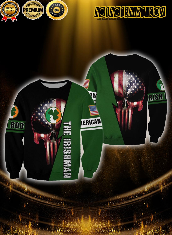 Skull American grown irish roots the irishman 3D sweatshirt