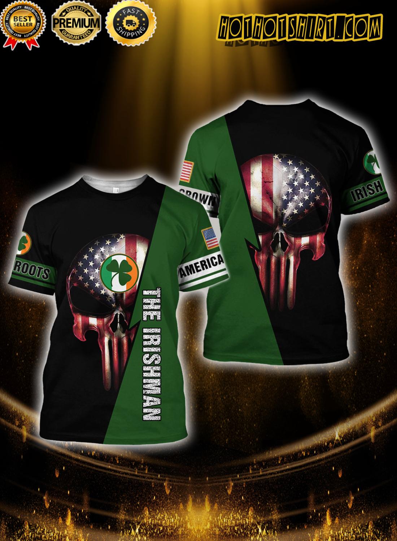 Skull American grown irish roots the irishman 3D t shirt