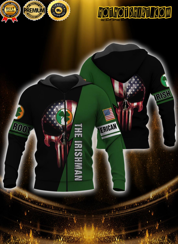 Skull American grown irish roots the irishman 3D zip hoodie