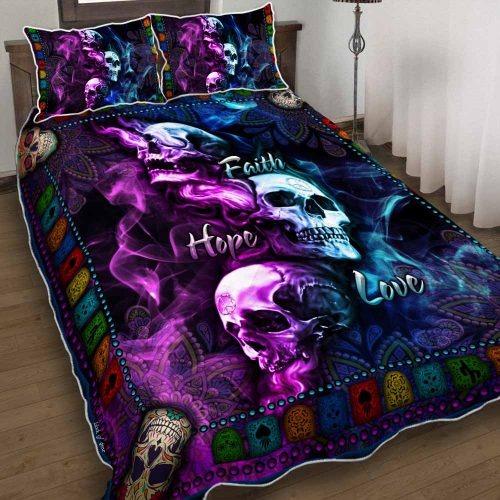 Skull faith hope love bedding set
