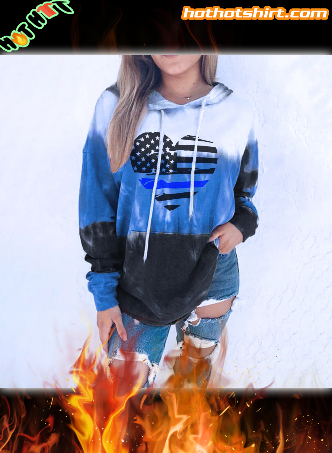 Thin Blue Line Heart Gradient 3D All Over Printed Hoodie 1