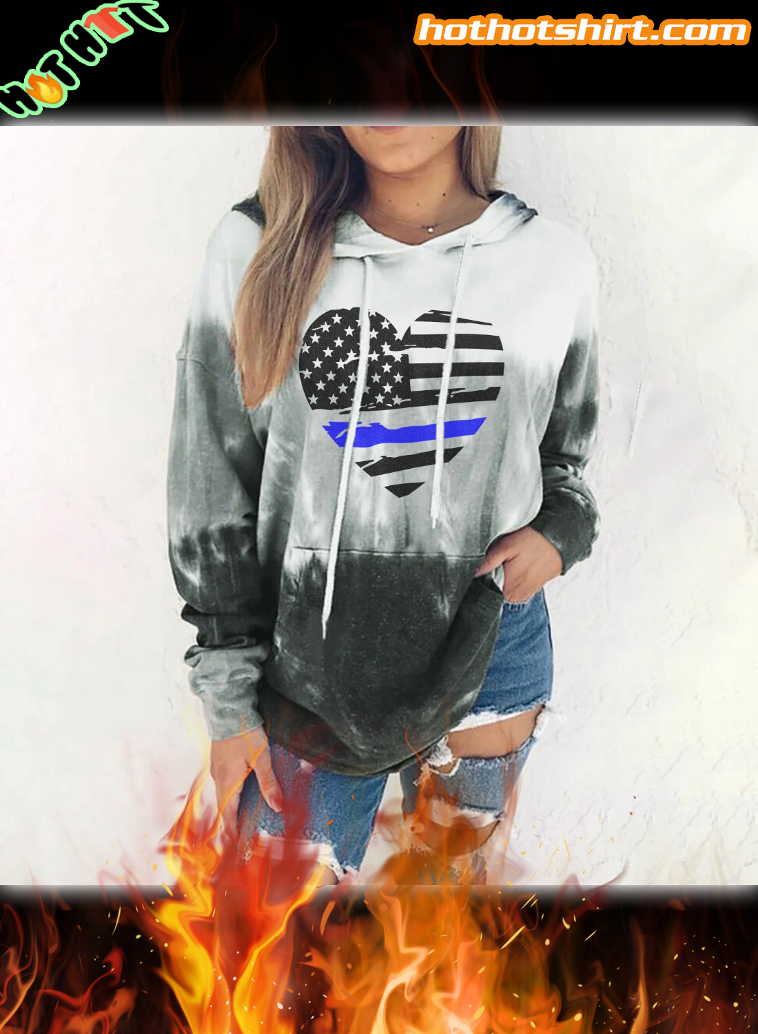 Thin Blue Line Heart Gradient 3D All Over Printed Hoodie 2