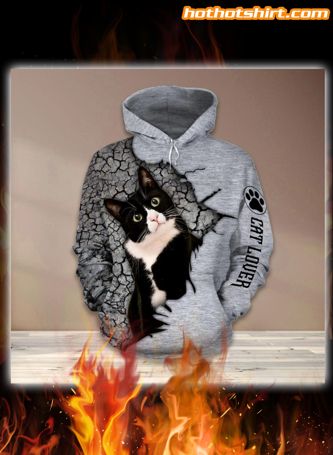 Tuxedo Cat lover 3D all over print hoodie and legging