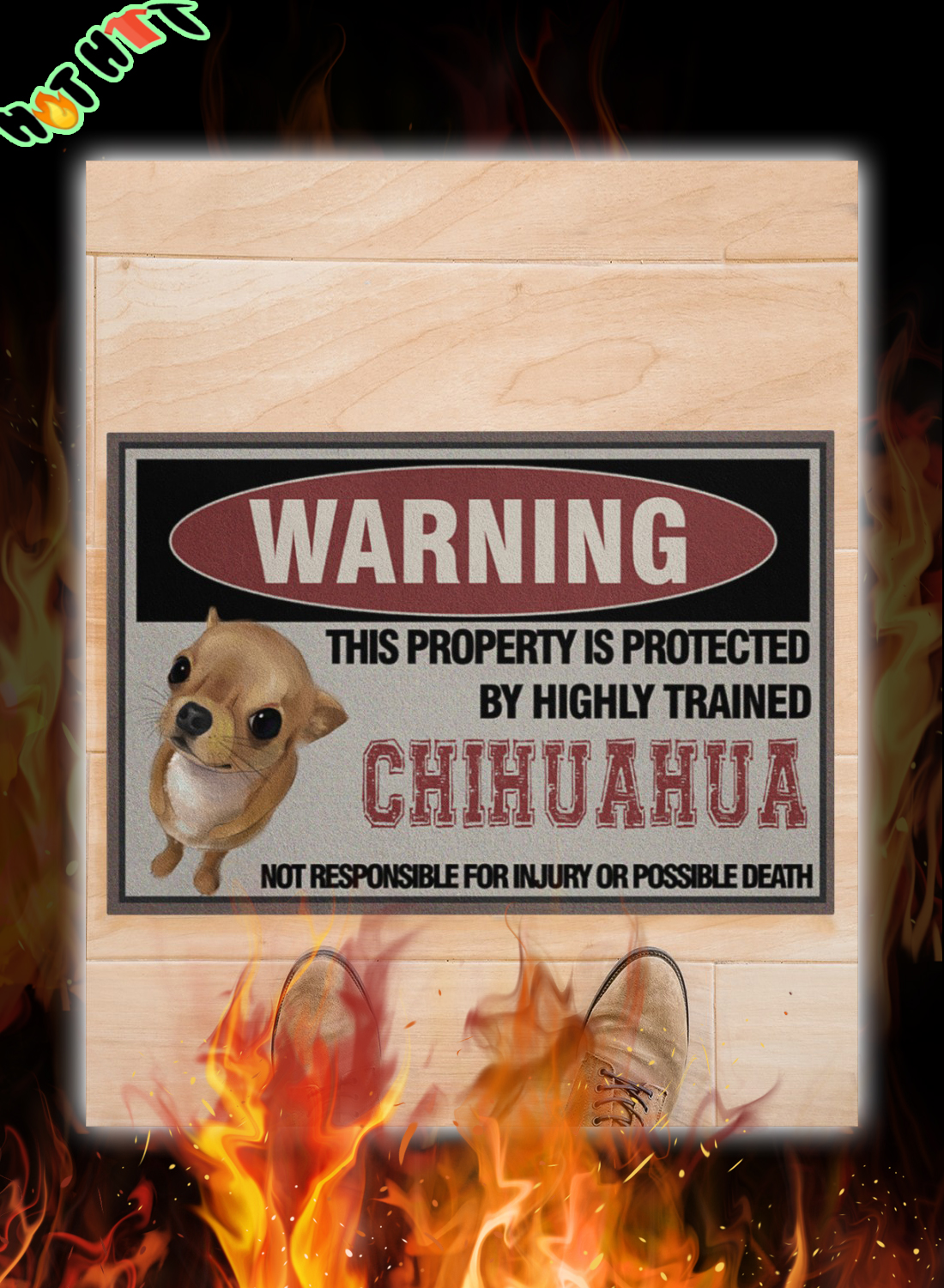 Warning this property is protected by highly trained chihuahua doormat