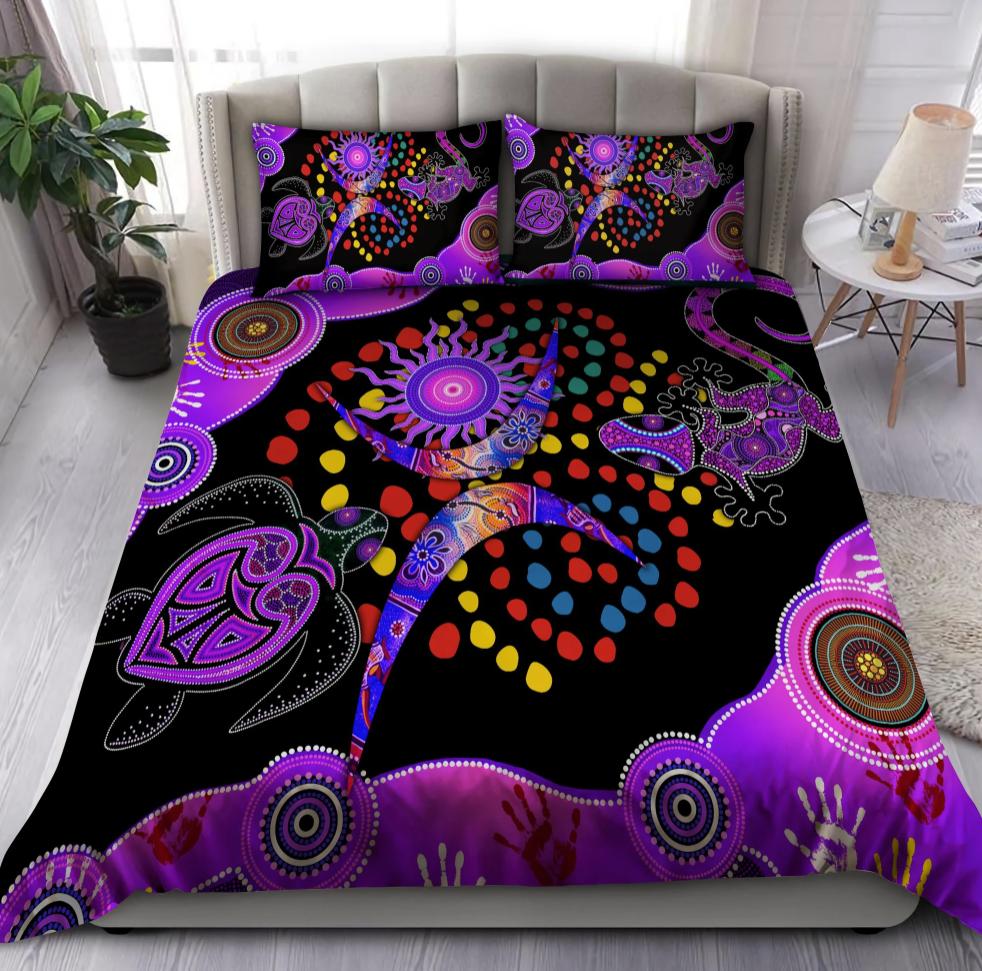 Aboriginal Naidoc week Turtle Lizard bedding set