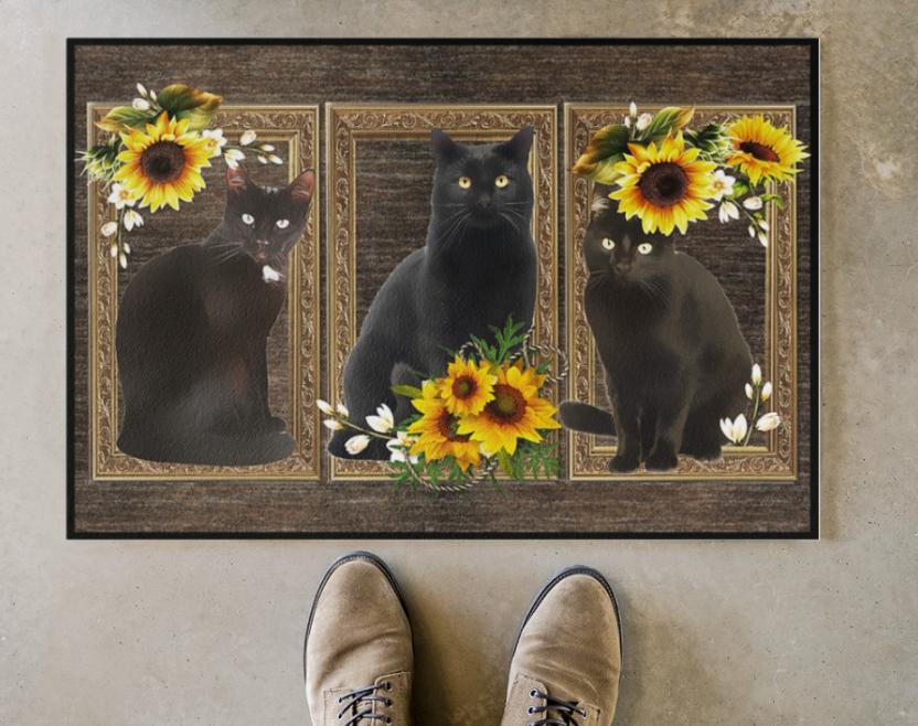 Black cat sunflower frame doormat 1