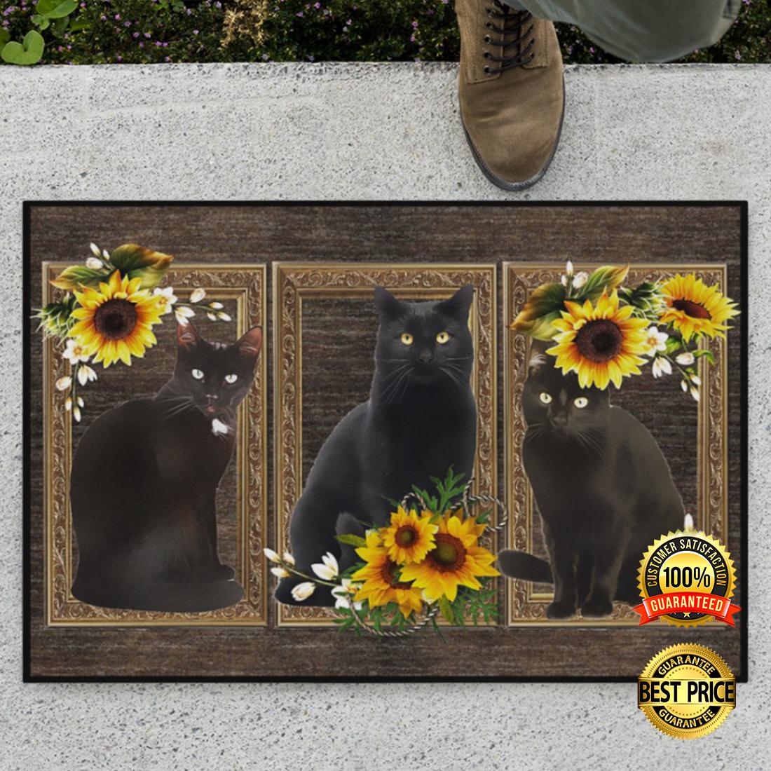 Black cat sunflower frame doormat 4