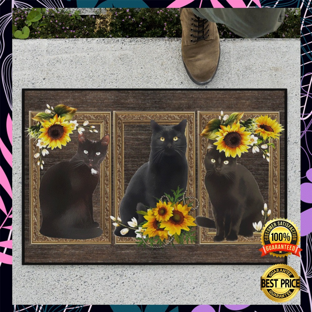 Black cat sunflower frame doormat1
