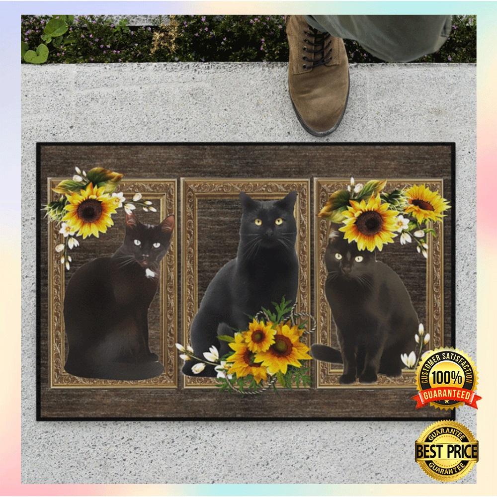 Black cat sunflower frame doormat2 1