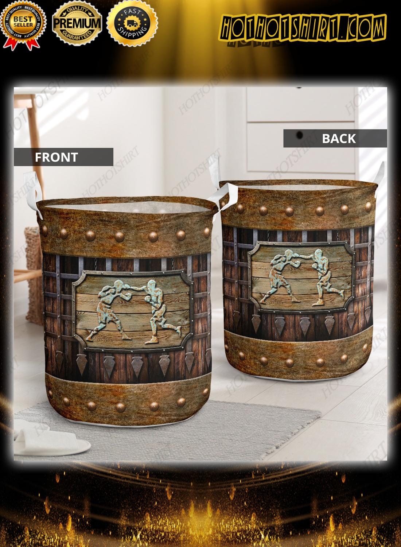 Boxing sport grunge metal style laundry basket