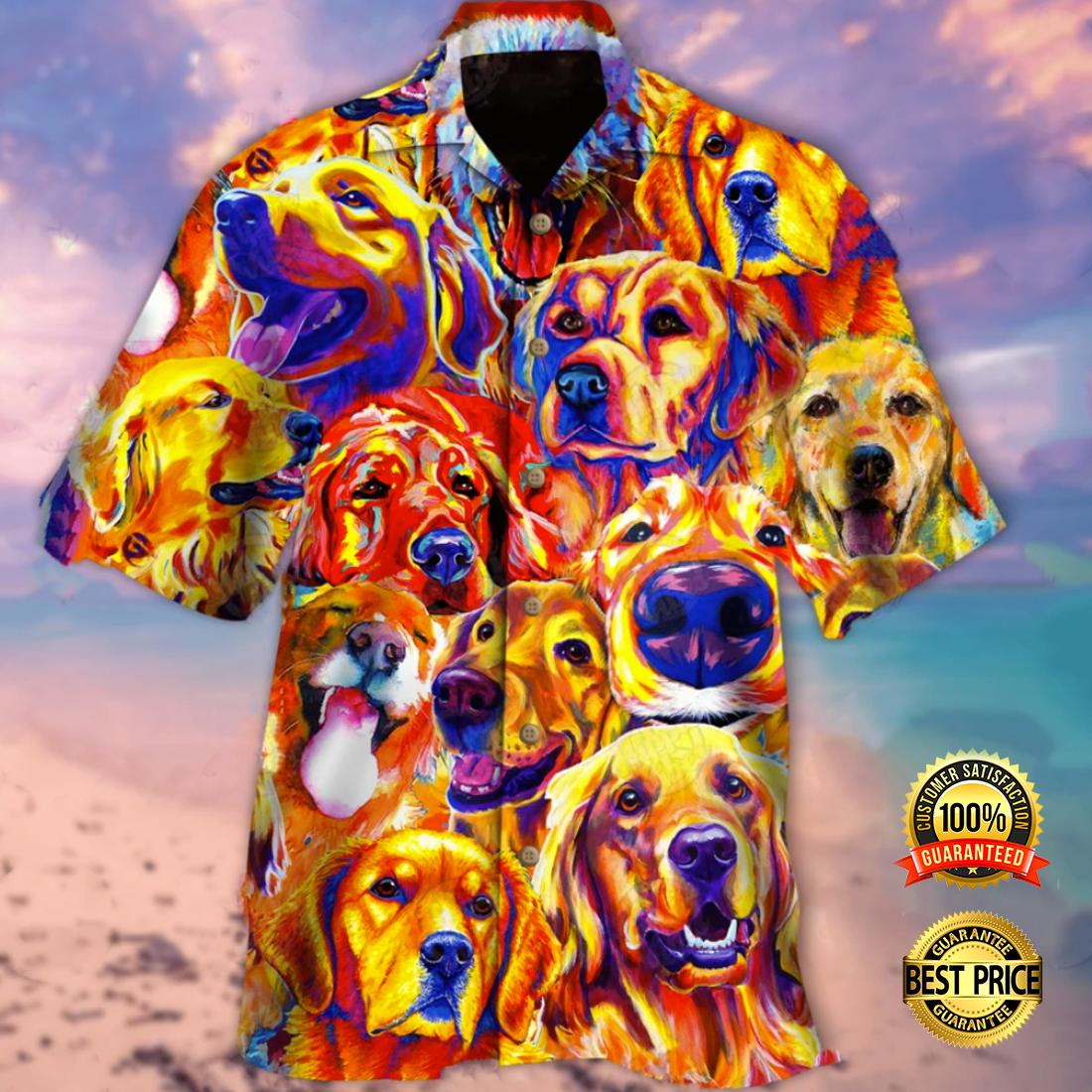 Colorful golden retriever hawaiian shirt 4