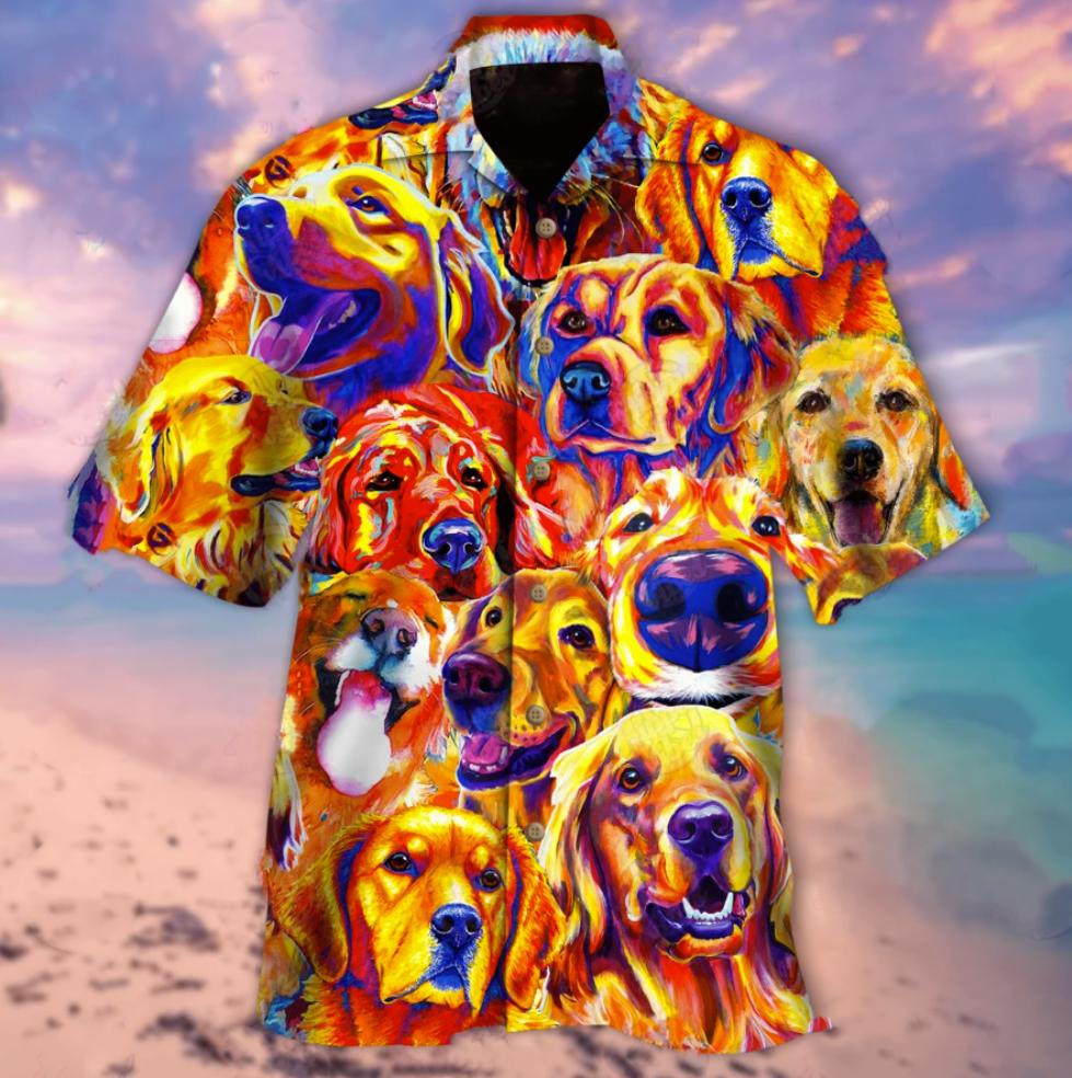 Colorful golden retriever hawaiian shirt