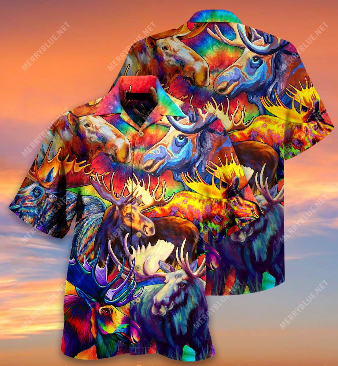 Corlorful mooses hawaiian shirt